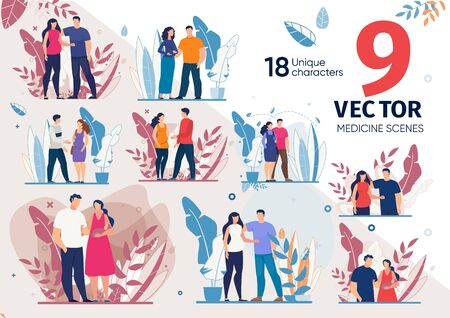 Childbirth Planning, Happy Maternity and Parenthood, Healthy Pregnancy Trendy Flat Vector Scenes Set. Pregnant Woman with Husband Standing Together, Couple with Newborn Baby on Hands Illustrations