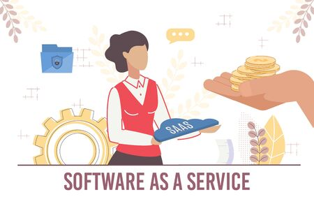 Woman Offer Commercial Secure Software as Service. Human Hand with Coin for Pay. Interface Toolbars and menus Development for Business. Modified Interface Versions Distribution. Vector Illustration