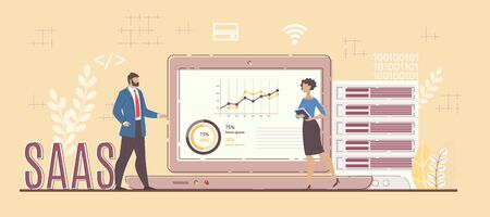 Software Service Business Model for Project Analysis. Man and Woman Standing Front of Digital Monitor with Data Statistic Graphic Discussing Results. SAAS Capital Letters. Vector Illustration 向量圖像
