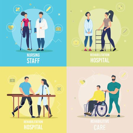Healthcare and Rehabilitation Programs for Disabled People Trendy Flat Vector Square Concepts Set. Doctors, Hospital Personnel Helping Recover to Female, Male Patients with Disabilities Illustration Ilustração