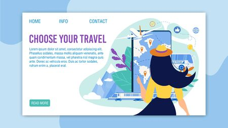 Travel Application for Mobile Phone. Selection Tour Menu. Travelling by Bus, Train, Airplane. Booking Tickets and Cruise Service. Woman Choosing Rout. Landing Page Trendy Design. Vector Illustration