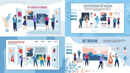 Art Gallery and Museum with Contemporary Paintings Artworks, Sculpture Composition Presentation Landing Page Set. Exhibition Public Opening Invitation. Cultural Tourism. Vector Illustration