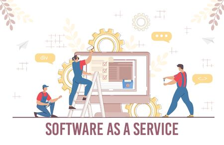 Engineer Team Software Service Development Programming Coding Process. Man Technician and Maintenance Technical Support. Developer Working with Big Data Technology for Business. Vector Illustration 向量圖像