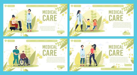 Professional and Qualified Medical Care Services in Rehabilitation Center Trendy Flat Vector Horizontal Web Banners, Landing Pages Templates Set. Female, Male Doctors Supporting Patients Illustration
