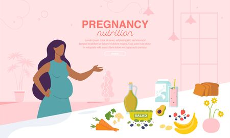 Pregnancy Nutrition and Healthy Diet Advertising Poster. Online Order and Delivery Food for Pregnant Women. Afro-American Lady with Belly Standing near Table with Fresh Ingredients, Drinks