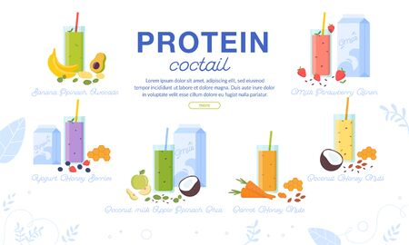Protein Cocktails Assortment Advertising Banner. Sport Nutrition Order Delivery Service. Sweet Milk Shake with Fruits, Vegetables, Nuts, Honey. Fresh Smoothie Glass Cup Menu Set. Vector Illustration 向量圖像
