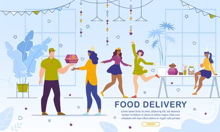 Food and Snack Delivery Online Service. Girls Ordering Fresh Baked Sweet Glazed Donuts for Hen-Party. Man Courier Carrying Cardboard Box with Pastry. Advertising Banner. Vector Illustration 向量圖像