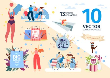 Summer Time Sales Scenes, Preparing to Vacations Season Concepts Trendy Flat Vectors Set. Happy Couple Going on Shopping, Family Riding Bicycle, People Returning from Ship with Purchases Illustration 向量圖像