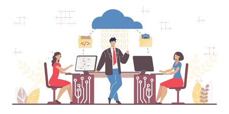 Business Software Service. Cloud Computing Segment. Man Woman Team Working on Computer in Office Using Saas System for Connection and Cooperation. Secure Encoded Mailing. Vector Illustration
