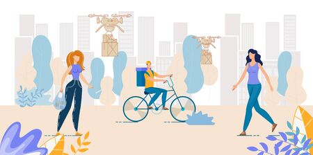 Air and Land Food, Parcels, Drugs Delivery Service. Drone Transportation Packages over Cityscape. Man Courier Riding Bicycle. Fresh Food Basket Shipping. Women Citizen Potential Customers Walking Illustration