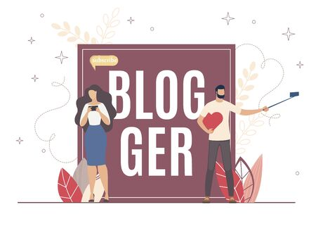 Internet Blogger Popularity, Subscribe and Record. Girl View Activity on her Account on Electronic Device. Man Hold Heart and Take off Using Long Selfie Stick. They Express Thought and Life Story. Ilustração