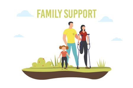 Disabled People Family Support Trendy Flat Vector Banner, Poster Template. Woman with Leg Amputation Spending Time with Relatives, Husband and Daughter Helping Disabled Wife on Crutches Illustration