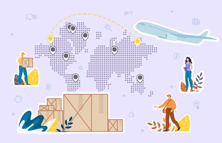 Worldwide Cargo and Mail Delivery Aircraft Service and Company Logistics. Product Goods Shipping Transportation by Airplane. World Map with Location Destination Marks. Deliveryman, Postman, Operator