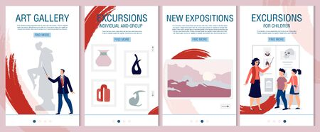 Individual, Group Excursion to Art Gallery, History Museum Mobile Onboard Landing Page Set. Invitation to Visit New Expositions. Advertisement for Kids and Adults. Vector Phone Screens Illustration Ilustração