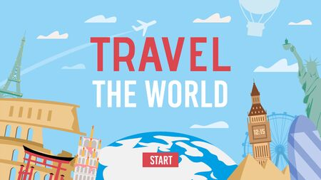 Travel over World by Air. Aircraft Tour to Country with Famous Sightseeing Attraction. Different Destination Location with Landmark, Earth Glob. Invitation Banner Template. Vector Tourism Illustration