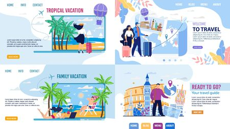 Tour Agency Landing Page Design Set. Touristic Online Service Inviting to Travel. Family Vacation, Trip to Exotic Resort, World Cruise Along, with Guide. People Choosing Booking Rout via Internet
