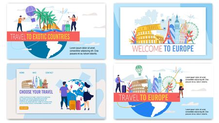 Landing Pages, Banners Set Offer Travel Tour to Europe and Exotic Country. Travelling All over World. Happy Tourists with Luggage Choosing Best Tour, Holiday Journey. Vector Illustration