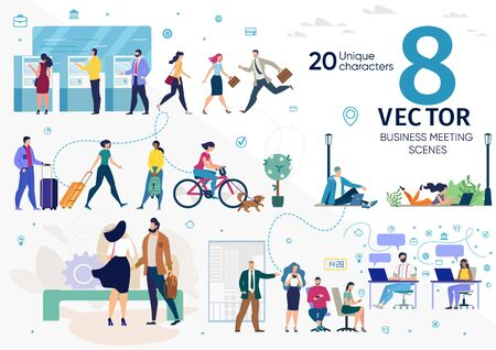 City Citizens, Company Employees, Freelancers or Students Life Scenes, Work Situations, Distance Work, Social Networks Addiction, Office Work, City Travel Concepts Trendy Flat Vector Illustrations Set