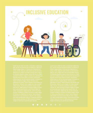 Programme scolaire d'éducation inclusive pour les élèves handicapés Affiche vectorielle à la mode, brochure ou modèle de diapositive de présentation. Garçon avec des béquilles, enfant handicapé venant à l'école Illustration de classe