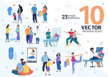 Healthcare Services for Pregnant Women, Future Mother Activities and Healthy Lifestyle Trendy Flat Vector Scenes Set. Couple Waiting Childbirth, Husband Spending Time with Pregnant Wife Illustrations Ilustração
