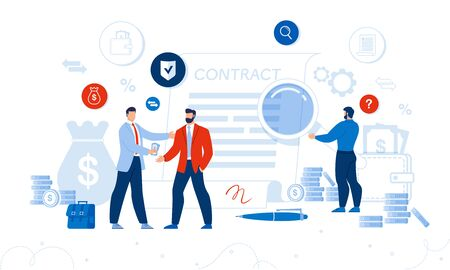 Businesspeople Investigating and Discussing Financial Document. Businessman Giving Money to Partner. Man with Magnifying Glass Checking Business Contract Condition. Financial Administration and Audit Ilustração