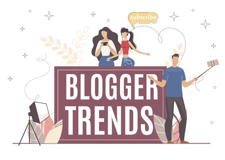 Blogger Trends for More Successful Media Work. Man on Camera Discusses Topic that Popular Now. Girl with Interest Look in Smartphone Watching at New Blog Issue. Keep Follower Following Trend.