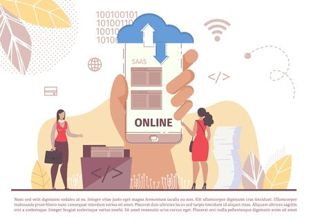 Saas Software Service. Internet Business Cloud Technology. Mobile Application. Woman Stand Front Smartphone Holding by Human Hand. Network and Information Safety Exchange Online. Vector Illustration Ilustração