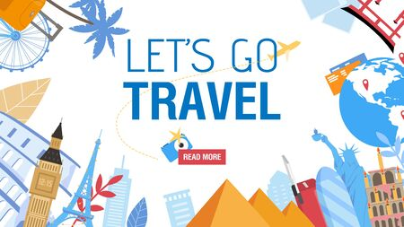 Travel Information Design with Famous Attraction. Journey and Tourism Destination Place over World. Text and Read More Button. Camera, Sightseeing in Europe, America, Egypt, Asia. Vector Illustration Ilustração
