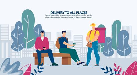 Delivery Anytime to Anywhere Advertising Banner. People Having Snack on Break Purchase Fastfood on Phone. Mobile Application for Meal Order. Deliveryman Courier Giving Package with Fresh Set-Meal