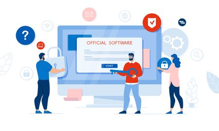 Official Software Access. Program Analyses and Audit. Two Man Holding Key and Lock. Woman Carrying Digital Security Locking Product. Computer Screen with Registration and Authorization Form
