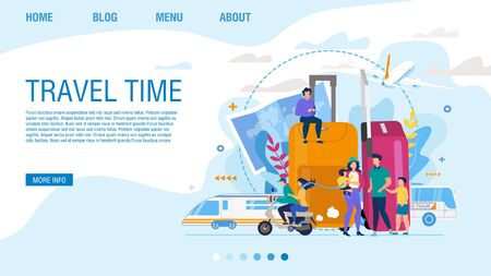 Landing Page Offering Exciting Travel Time. Design for Tour Agency Organizing Trip for Two or Family. People Travelling by Scooter, Bus, Train, Airplane over World. Booking Mobile App Online Service