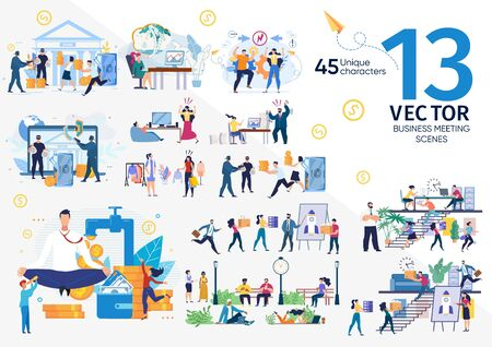 Company Employees, Entrepreneurs Life Scenes and Work Situations, Businesspeople Teamwork, Financial Security and Money Fraudulent, Stress on Office Work Concepts Trendy Flat Vector Illustrations Set