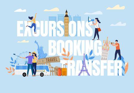 Excursion Booking Transfer Capital Letter. Tiny People on Text. Worldwide Travel Design. Tourist Take Photo, Selfie with Attraction, Famous Landmark, Buildings, Statue. Bus Tour. Vector Illustration Ilustração