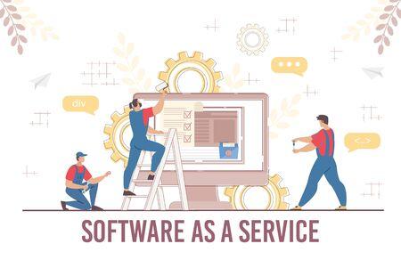 Engineer Team Software Service Development Programming Coding Process. Man Technician and Maintenance Technical Support. Developer Working with Big Data Technology for Business. Vector Illustration Ilustração