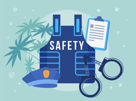Civil Security Promotion and Police Equipment. Officer Body Armor and Peaked Cap, Handcuffs and Clipboard for Taking Formal Note Violation. Security, Law, Order. Tropical Design. Vector Illustration