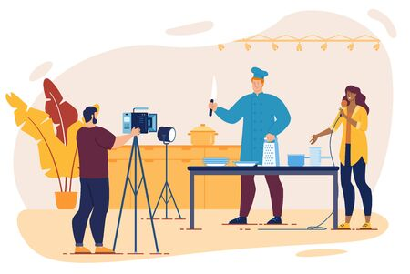 Cooking TV Show Shooting with Chef Preparing Food, Cameraman Working with Equipment, Interviewer Talking to Microphone Character. Kitchen Interior. Kitchenware Advertisement. Vector Illustration Ilustração