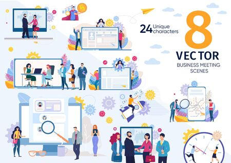 Human Resources Manager, Business Partners, Companies Leaders Daily Life Scenes, Work Situations, Hiring Employees, Job Interview, Successful Partnership Concepts Trendy Flat Vector Illustrations Set Ilustração
