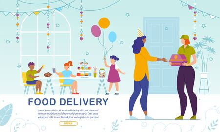 Sweet Pastry Delivery to Kids Party. Online Service Banner. Woman Mother Ordering Fresh Baked Donuts for Children on Birthday Celebration. Female Courier Delivering Confectionary. Vector Illustration