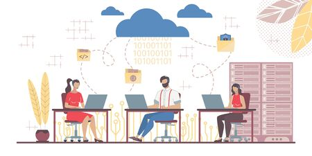 Business People Team Working in Saas System Connected with Main Cloud. Datacenter Server Room. Mail Exchange Online. Modern Technology, Service and Automation Tool for Management. Vector Illustration