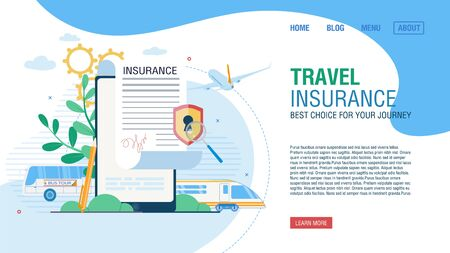 Online Service for Journey Insurance. Tour Agency Landing Page Offer Safe Movement by Bus, Airplane and Train to Destination Place. Form for Fulfilling Medical Policy on Mobile. Vector Illustration