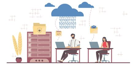 Safety Business Data Exchange. Saas Technology. Secure Software Service. Cloud Computing. Technology and Communication. Man Woman Team Coding Mail Working at Computer. Vector Illustration