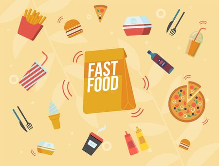 Fast Food Cafe Banner, Street Food Restaurant Meals and Drinks Menu Banner, Poster. Cafeteria Paper Packet, French Fries Portion, Sliced Pizza, Coffee, Cola and Juice Cup Flat Vector Illustration