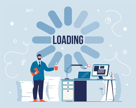 Productivity Loading Process. Awakeness-Related Theme. System Software Update and Upgrade. Effective Thought and Idea. Office Worker Wait with Cup of Hot Drink. Take Coffee Break. Vector Illustration