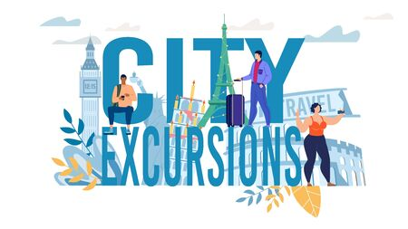 City Excursion Capital Letter Text and Tiny People Tourist Creative Advertisement Design. Man Booking Tour via Mobile App, Woman Taking Selfie with Landmark, Guy with Luggage at Destination Place