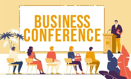 Business Conference, Company Shareholder Report Event, Investors Meeting, Employees Training or Seminar Trendy Flat Vector Concept. People in Hall Listening Businessman Public Speech Illustration