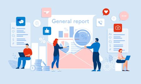 Team Auditor Making, Checking up General Report with Chart and Graph in Email Envelop. Media and Business Audit. People Working with Magnifying Glass, Laptop, Social Network. Vector Illustration Vectores