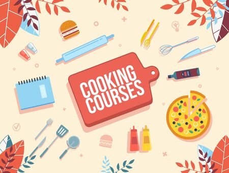 Cooking Online Courses, Culinary Internet School, Modern Gastronomy Classes Advertising Banner. Sliced Pizza, Kitchen Utensils, Recipe Book, Ketchup and Mustard Bottles Trendy Flat Vector Illustration