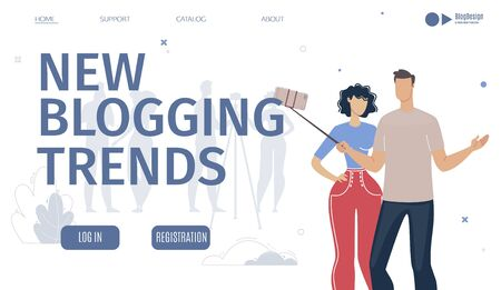 Blogging New Trends Analysis Service, Digital Marketing Company, Platform for Vloggers Web Banner, Landing Page Template. Man and Woman Streaming Video with Smartphone Trendy Flat Vector Illustration
