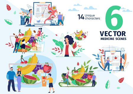 Healthy Nutrition and Dieting, Therapeutic Fasting for Weight Loss, Ration from Natural Food Trendy Flat Vector Scenes Set. Nutritionist, Fat People, Family Members Bowl with Fruits Illustrations