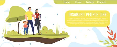 Disabled People Happy Life, Family Support, Healthy Relationships Trendy Flat Vector Web Banner, Landing Page. Husband and Daughter Supporting Disabled Mother, Injured Woman on Crutches Illustration